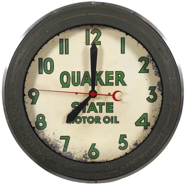 95: Quaker State Motor Oil neon clock, mfgd by Time-O-G