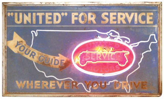 382: United Motors Service neon sign, metal w/2-color n