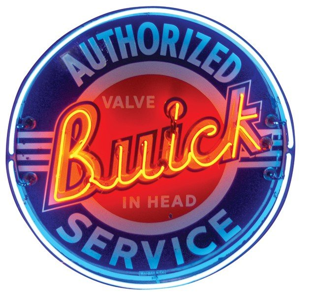 """432: Buick neon sign, """"Authorized Service"""", mfgd by Wal"""