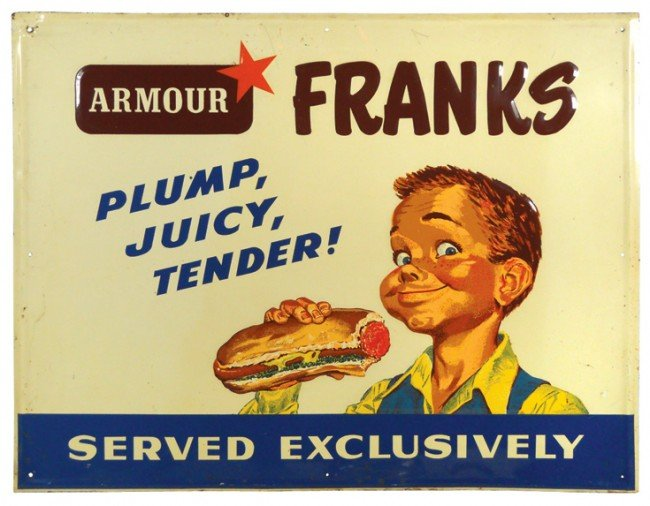 526: Armour Franks embossed metal sign, self-framed, fu