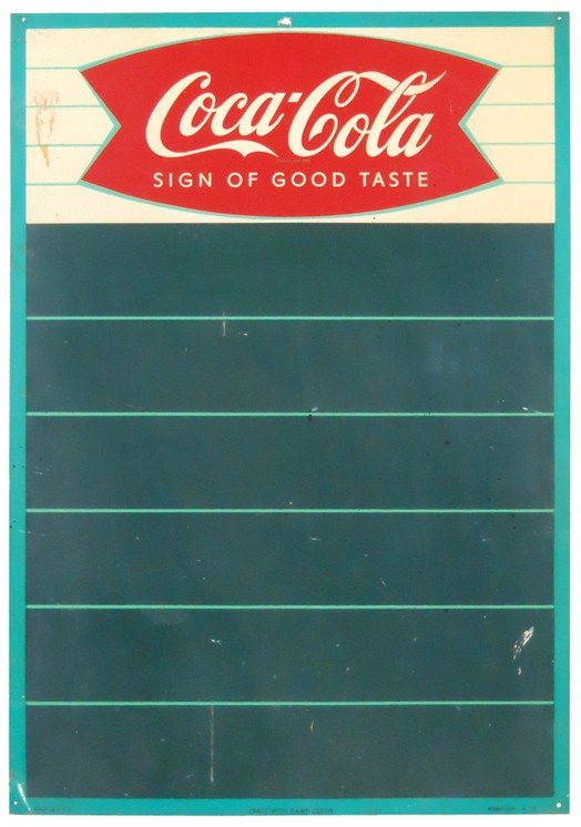 527: Coca-Cola menu board, litho on metal, Good cond w/
