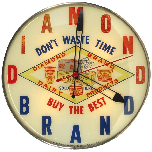 528: Diamond Brand Dairy Products light-up clock, mfgd