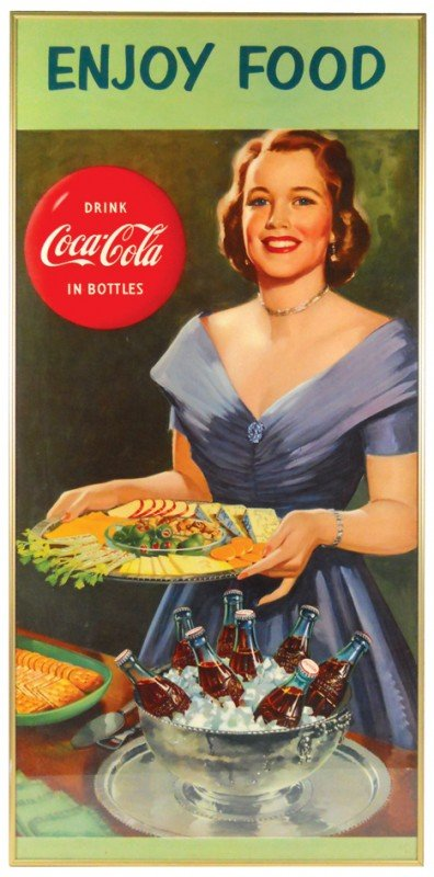 "529: Coca-Cola framed paper sign, ""Enjoy Food"", c.1960'"
