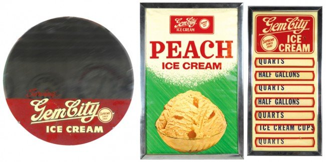 531: Gem City Ice Cream menu board, round mirror & Peac