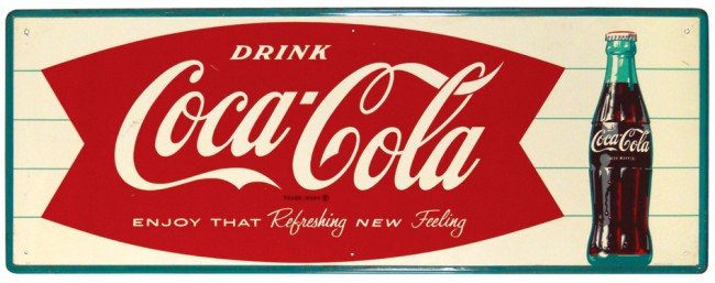 533: Drink Coca-Cola metal sign, fishtail w/bottle grap
