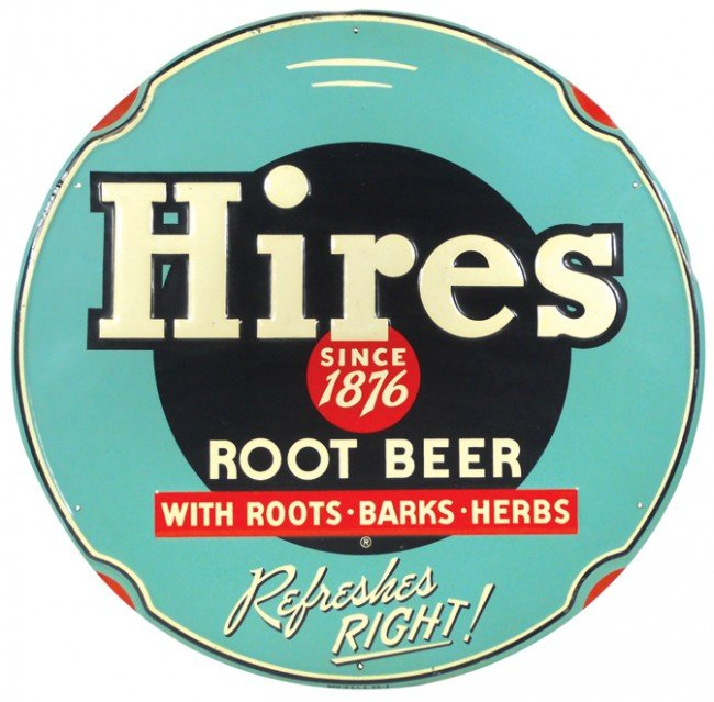 536: Hires Root Beer embossed metal sign, colorful roun