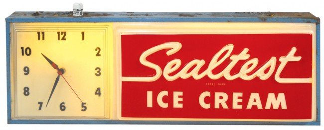 537: Sealtest Ice Cream light-up sign w/clock, molded p