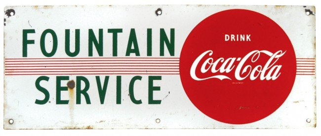 539: Coca-Cola Fountain Service porcelain sign, Good co