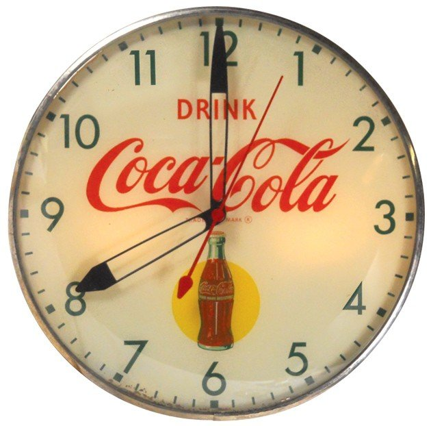 540: Drink Coca-Cola light-up clock, bottle graphic, mf