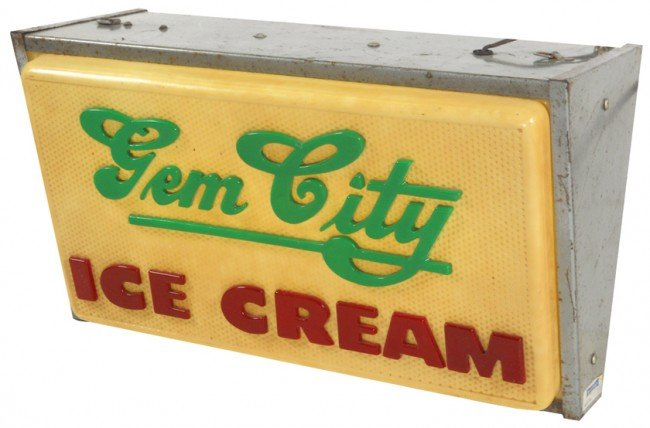 541: Gem City Ice Cream (Dayton, OH) hanging sign, 2-si