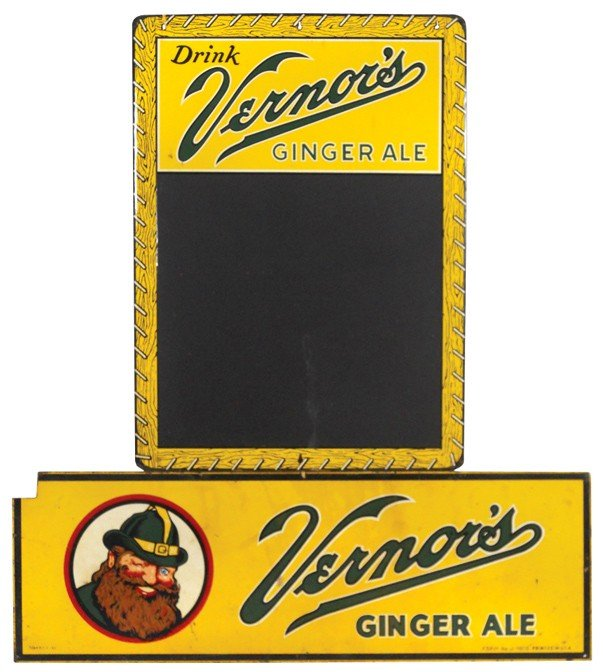 542: Vernor's Ginger Ale sign & menu board, heavy metal