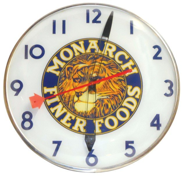 545: Monarch Finer Foods light-up clock, mfgd by Telech