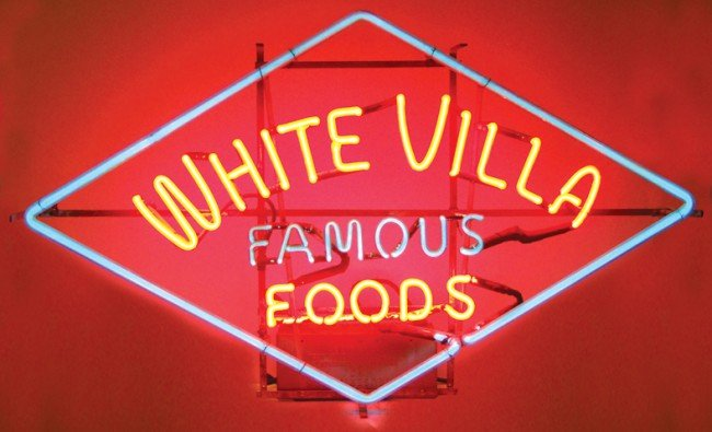 548: White Villa Famous Foods neon sign, Exc working co