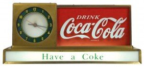 "Coca-Cola Light-up Counter Sign W/clock, ""Have A C"