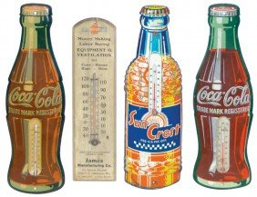 Thermometers (4), Coca-Cola & Sun Crest Are Metal,