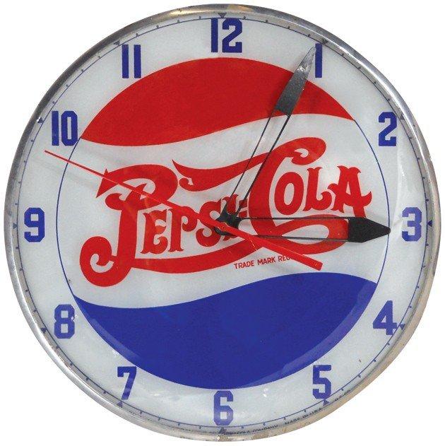 670: Pepsi-Cola light-up clock, round double dot, mfgd