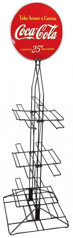 671: Coca-Cola bottle rack, wire frame w/fold up shelve