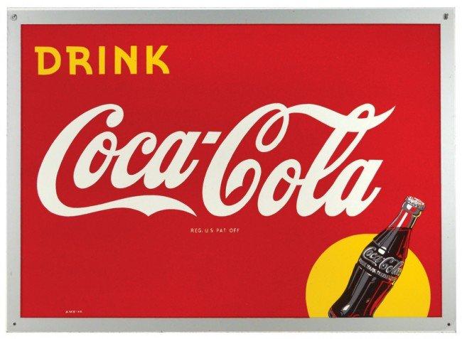 672: Coca-Cola Masonite sign w/bottle graphic, dated 19