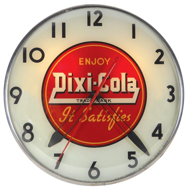 "673: Dixi-Cola light-up clock, ""It Satisfies"", mfgd by"