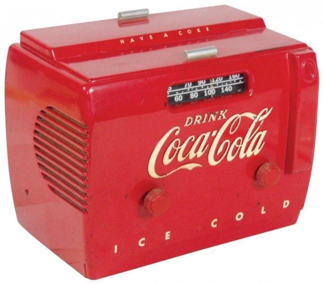 675: Coca-Cola radio, cooler style, c.1950's, VG orig w