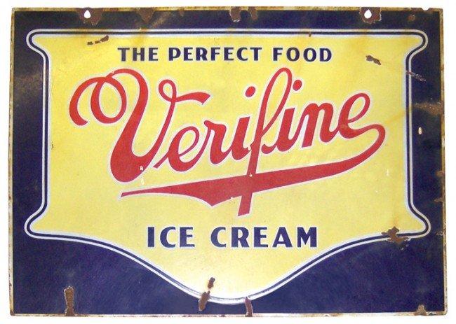 677: Verifine Ice Cream porcelain sign, Good cond w/chi