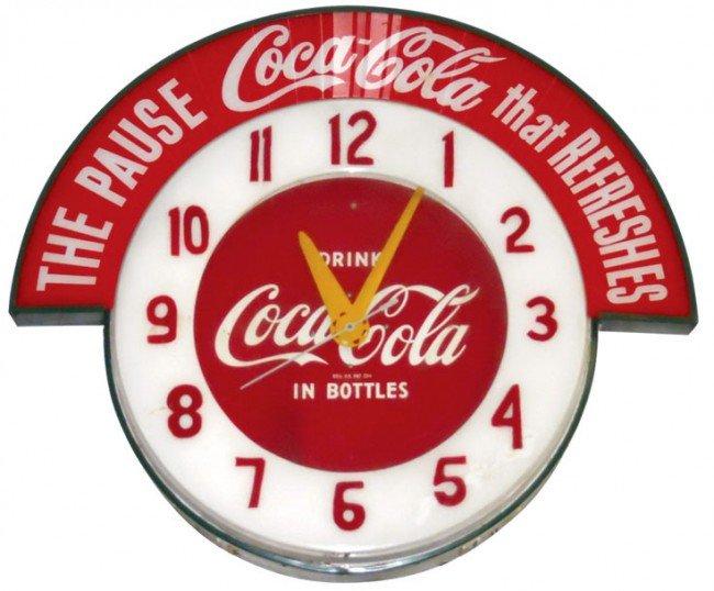 678: Coca-Cola Cleveland neon clock w/Coca-Cola marquee