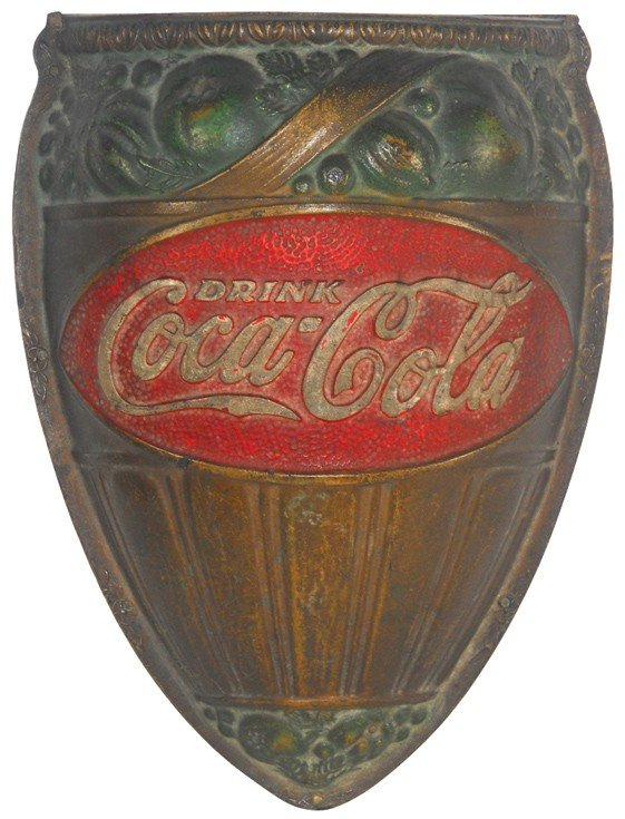 680: Coca-Cola wall sconce, composition, VG cond, early