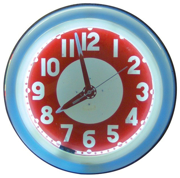 681: Neon clock w/red bullseye, 2-sided 2-color neon, m