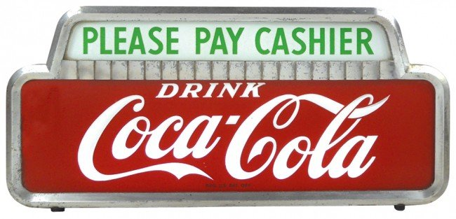 """685: Coca-Cola light-up counter sign, """"Please Pay Cashi"""