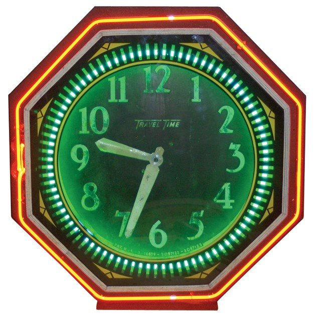 686: Neon clock, Travel Time, 2-color, mfgd by Neon Pro