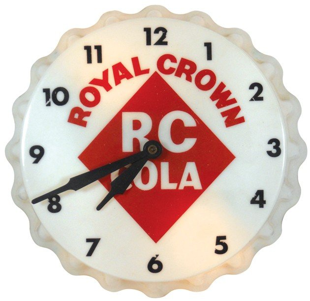 687: Royal Crown Cola light-up clock, molded plastic, b