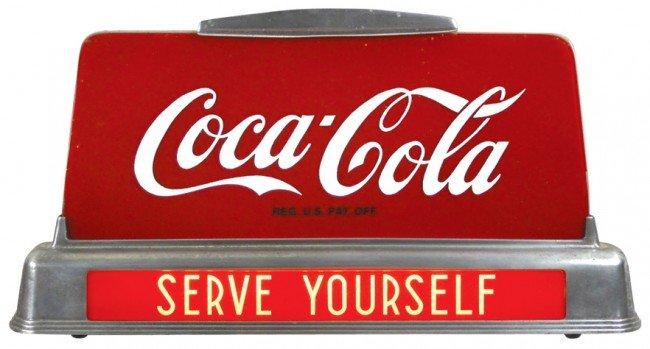 690: Coca-Cola Serve Yourself light-up counter sign, Ex