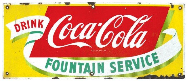 692: Drink Coca-Cola-Fountain Service porcelain sign, c