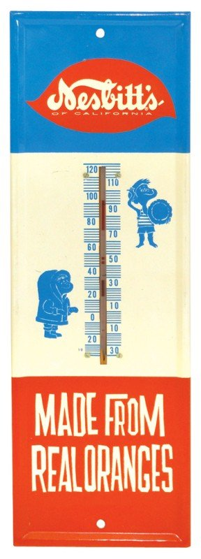 693: Nesbitt's thermometer, colorful litho on metal, ne