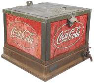 Coca-Cola Glascock cooler, embossed metal panels o