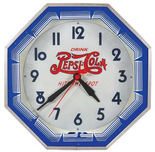 723 Pepsi Cola Neon Clock Double Dot Drink Pepsi Co