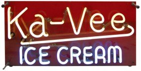 Ka-Vee Ice Cream Neon Sign, Mfgd By Gundlach-Cinc,