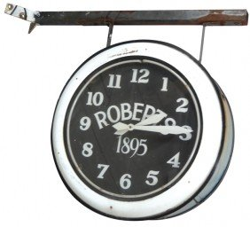 Roberts 1895 Outdoor Double-sided Neon Clock, From