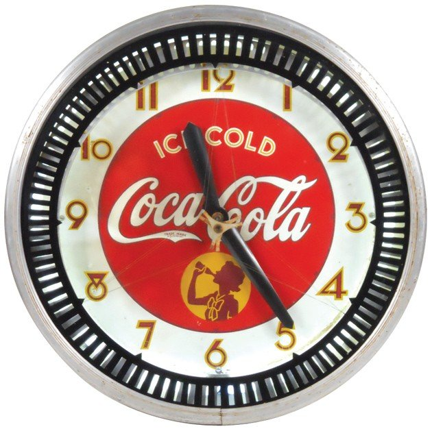 769: Coca-Cola Silhouette Girl neon motion clock, mfgd