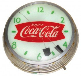 Coca-Cola Fishtail Florescent Light-up Clock, Mfgd