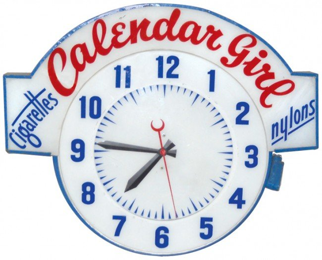 "794: Cleveland neon clock w/""Calendar Girl Cigarettes/N"