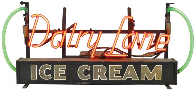 797: Dairy Lane Ice Cream neon & light-up sign, colorfu