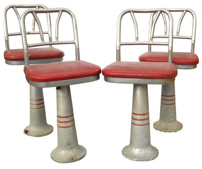 798: Soda fountain stools (4), metal bases & backs w/sw