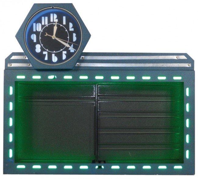 806: Neon menu board or sign board w/6-sided clock, blu