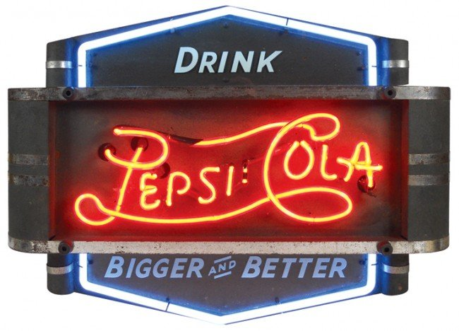 810: Drink Pepsi-Cola Bigger and Better neon sign, meta