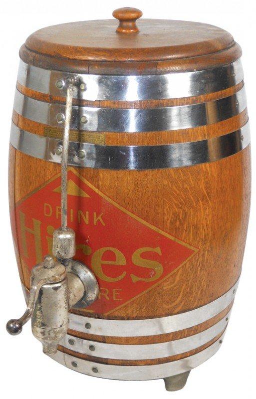 814: Hires Root Beer barrel dispenser, oak w/good trans