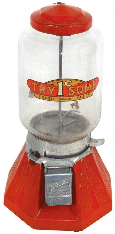 817: Coin-operated gumball vendor, Northwestern 33, ora