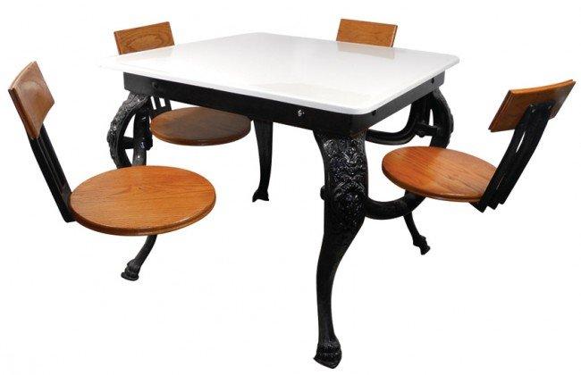 819: Soda fountain table w/oak swing out seats, fancy c
