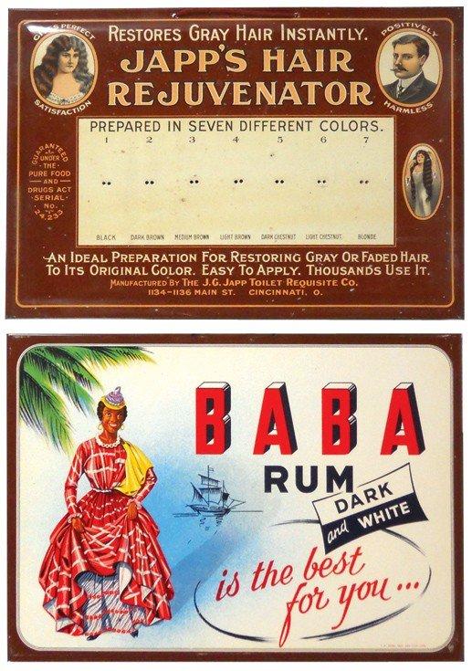821: Japp's Hair Rejuvenator & Baba Rum litho on metal