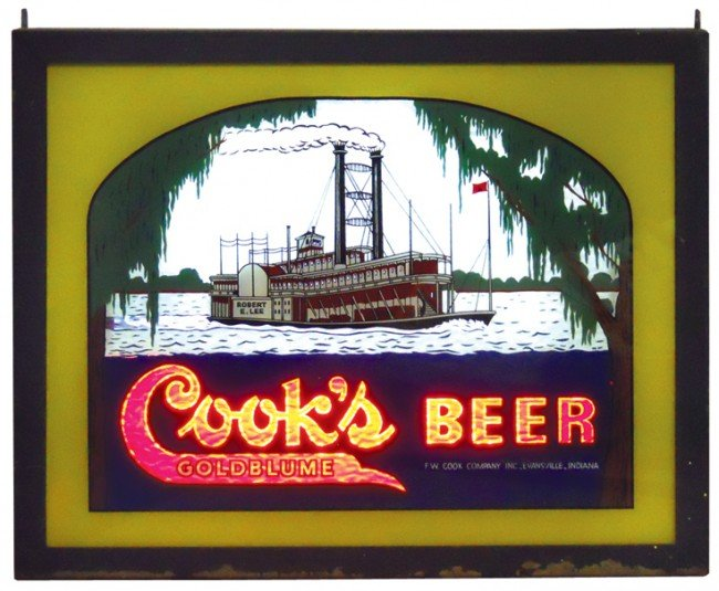 824: Cook's Beer crackle tube counter sign, pictures th